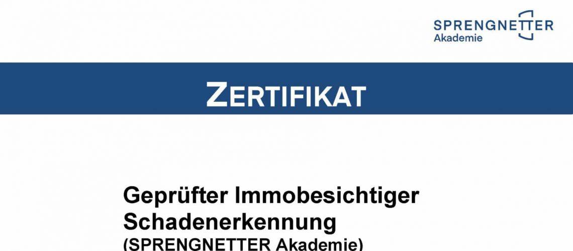 Zertifikat ImmoBesichtiger Schadenerkennung